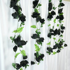 4 Pack 24 Ft Black UV Protected Supersized Rose Chain Artificial Flower Garland