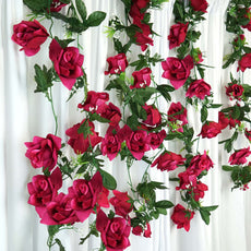 4 Pack 24 Ft Fushia UV Protected Supersized Rose Chain Artificial Flower Garland