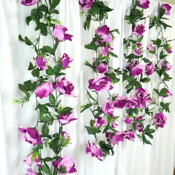Fitted Vinyl Picnic Table Covers Supersized Rose Garland - Lavender   eFavorMart