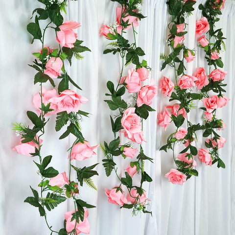 4 x Supersized Rose Garland-Pink