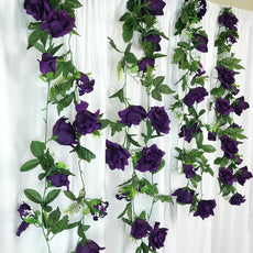 4 Pack 24 Ft Purple UV Protected Supersized Rose Chain Artificial Flower Garland
