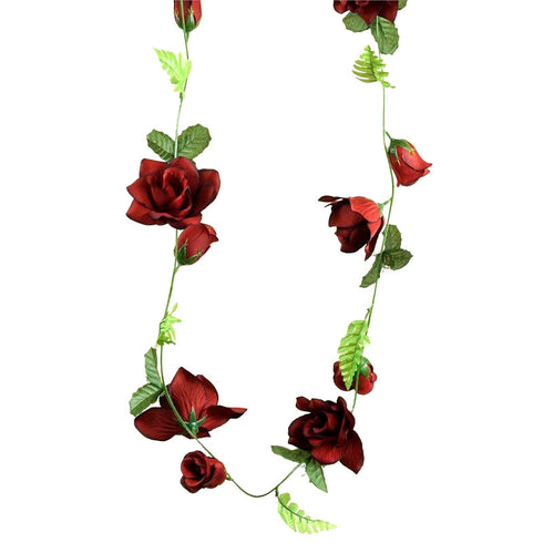 6FT Supersized UV Protected Black/Red Rose Flower Garland Chain For Wedding Arch Gazebo Decor - 4pcs