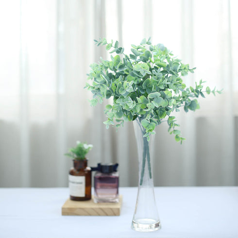 "3 Bushes - 14"" Frosted Green Flexible Artificial Eucalyptus Stems - UV Protected Artificial Outdoor Plant"
