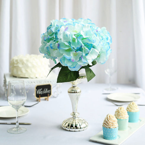 5 Bushes | 25 Heads Baby Blue Silk Hydrangea Artificial Flower Bushes