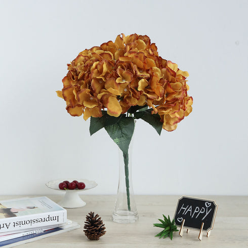 5 Bushes | 25 Heads Gold Artificial Flower Silk Hydrangea Bushes Wholesale