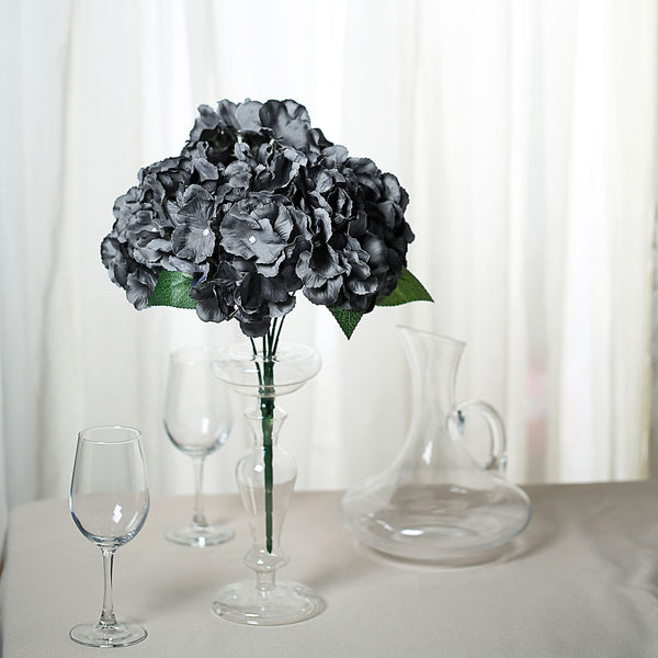5 Bushes | 25 Heads Charcoal Gray Silk Hydrangea Artificial Flower Bushes