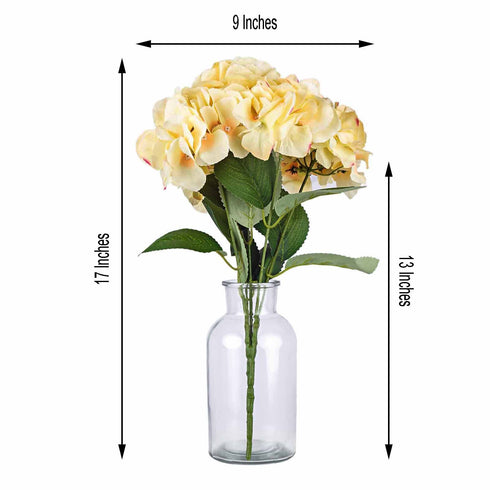 5 Bushes | 25 Heads Light Yellow Artificial Flower Silk Hydrangea Bushes Wholesale
