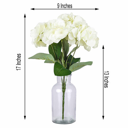 5 Bushes | 25 Heads Cream Silk Hydrangea Artificial Flower Bushes
