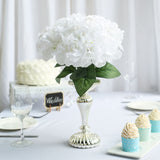 5 Pack | 25 Heads White Silk Hydrangea Artificial Flower Bushes