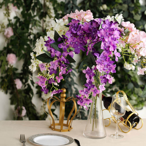 41'' | Pack of 4 | Purple Tall Artificial Hydrangea Stems | Silk Hydrangea