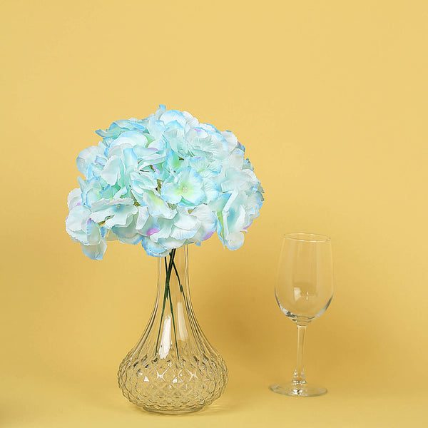 10 Pack - Blue Artificial Hydrangeas Head and Wire Stems - DIY Dual Tone Hydrangea Flower Arrangements