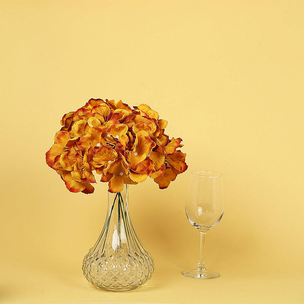 10 Pack - Gold Artificial Hydrangeas Head and Wire Stems - DIY Dual Tone Hydrangea Flower Arrangements