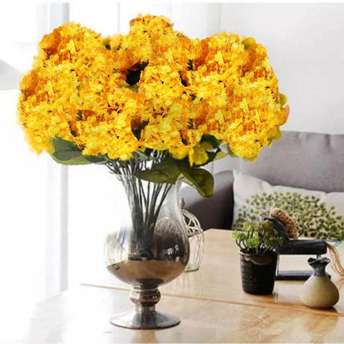 "4 Bushes 18"" Sun Glow Yellow Artificial Hydrangea Vase Decoration Flowers"