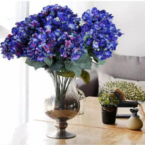 "4 Bushes 18"" Violet Artificial Hydrangea Vase Decoration Flowers"