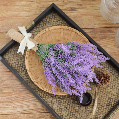 "4 Bushes - 14"" Artificial Lavender Bouquet, Artificial Wedding Bouquet"