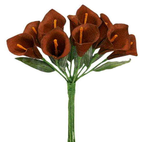 60 Artificial Single Stem Mini Calla Lily - Chocolate
