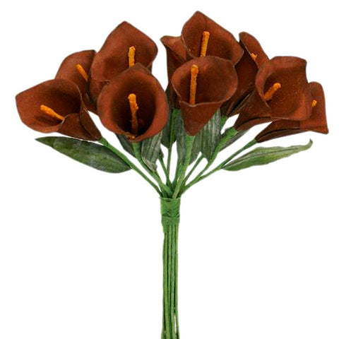 60 Artificial Single Stem Mini Calla Lily Wedding Flower Bouquet Centerpiece Decor - Chocolate