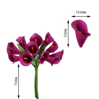 60 Pcs Fushia Artificial Single Stem Mini Calla Lily Flowers