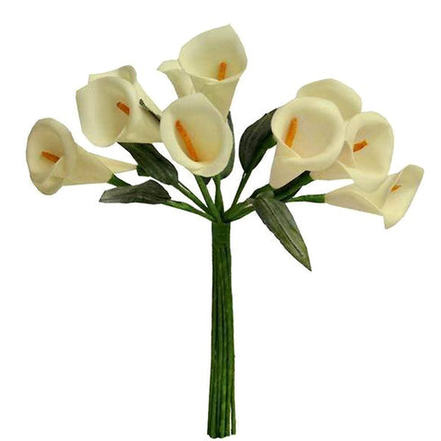60 Artificial Single Stem Mini Calla Lily - Ivory