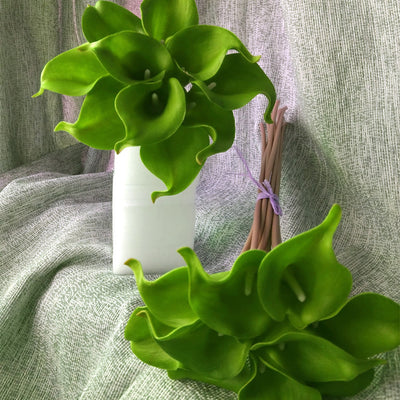 60 Artificial Single Stem Mini Calla Lily - Lime Green
