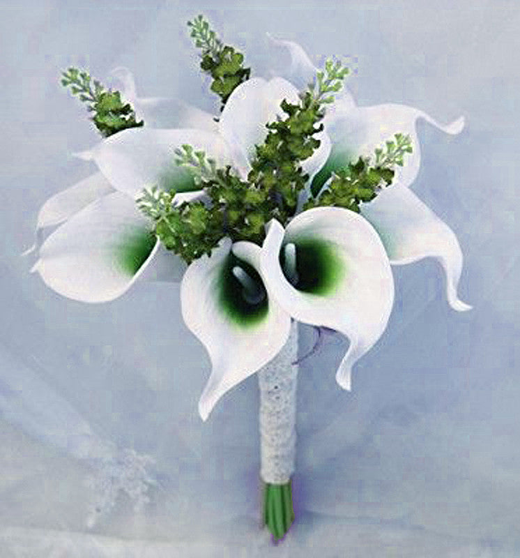Finest 60 Artificial Lime Green Mini Calla Lily Single Stem Flower For  RG74