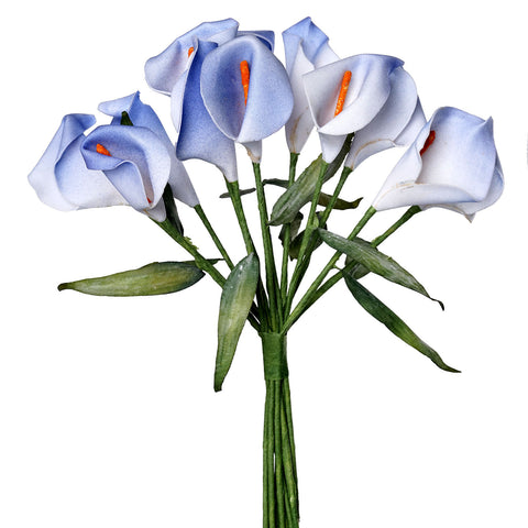 60 Artificial Single Stem Mini Calla Lily Wedding Flower Bouquet Centerpiece Decor - Blue