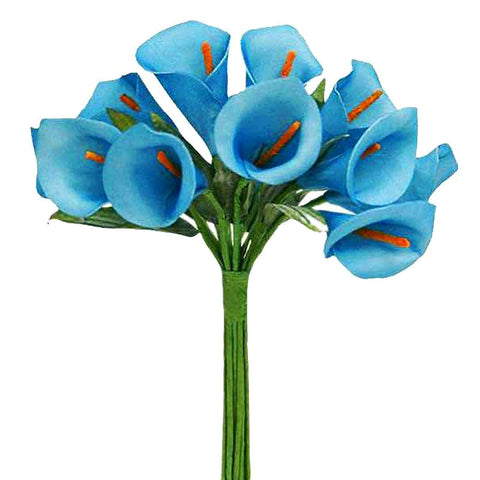 60 Artificial Single Stem Mini Calla Lily Wedding Flower Bouquet Centerpiece Decor - Turquoise