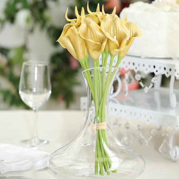 "10 Pack - 14"" Metallic Gold Artificial Calla Lily Flower Stems, Calla Lily Wedding Bouquet Stems"