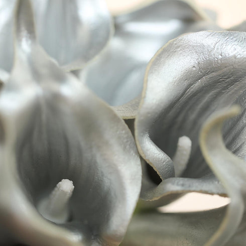 "10 Pack - 14"" Metallic Sivler Artificial Calla Lily Flower Stems, Calla Lily Wedding Bouquet Stems"