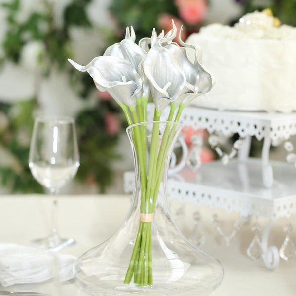 "10 Pack - 14"" Metallic Sliver Artificial Calla Lily Flower Stems, Calla Lily Wedding Bouquet Stems"