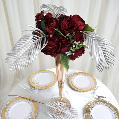 "2 Pack | 31"" Metallic Silver Artificial Palm Leaf Display Filler Floral Decoration"