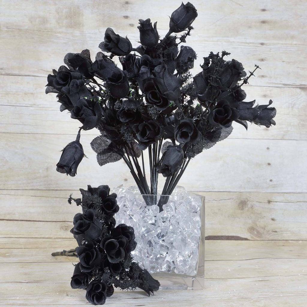 Mini Rose Buds-Black-180/pk
