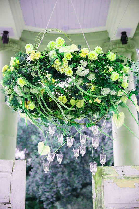 180 Artificial Silk Mini Rose Buds With Baby Breath Wedding Bouquet Vase Centerpiece Decor - Lime