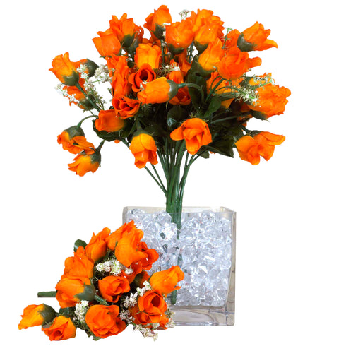 12 Bush Orange 180 Rose Buds With Baby Breath Real Touch Artificial Silk Flowers