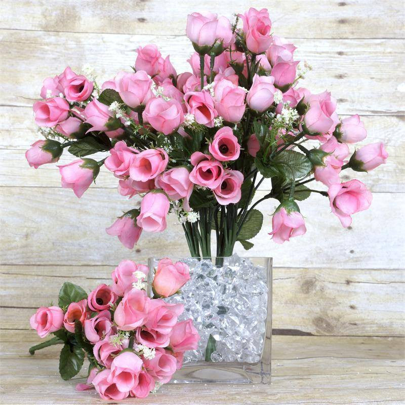 12 bush 180 pcs pink artificial silk rose bud flowers with baby mini rose buds pink 180pk mightylinksfo