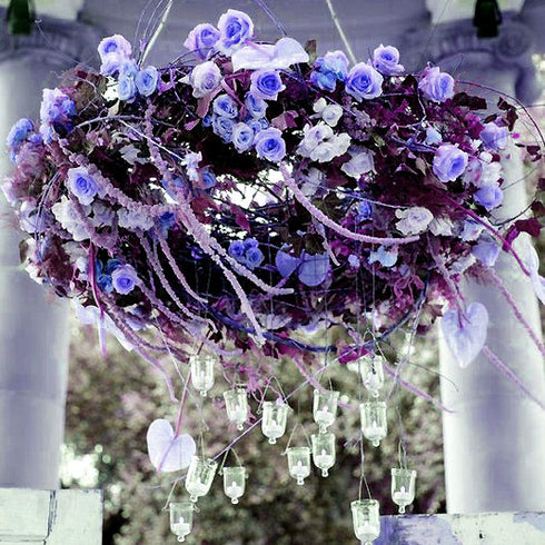 180 Artificial Silk Mini Rose Buds With Baby Breath Bouquet - Purple