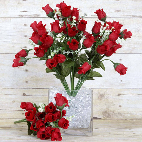 180 Artificial Silk Mini Rose Buds With Baby Breath Bouquet - Red