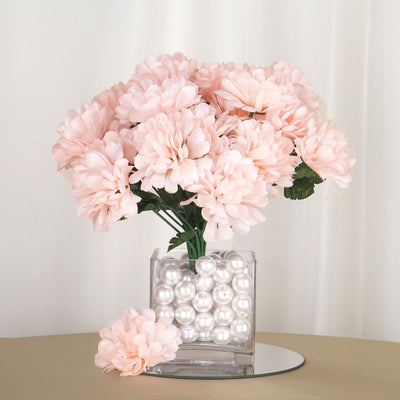 12 Bush 84 pcs Blush Artificial Silk Chrysanthemum Flower Bridal Bouquet Wedding Decoration