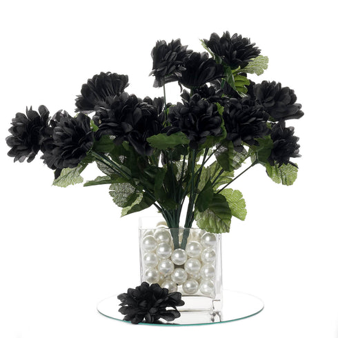 84 Artificial Silk Chrysanthemum Flower Bush - Black