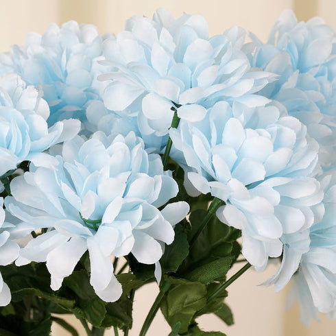 84 Artificial Silk Chrysanthemum Flower Bush - Light Blue
