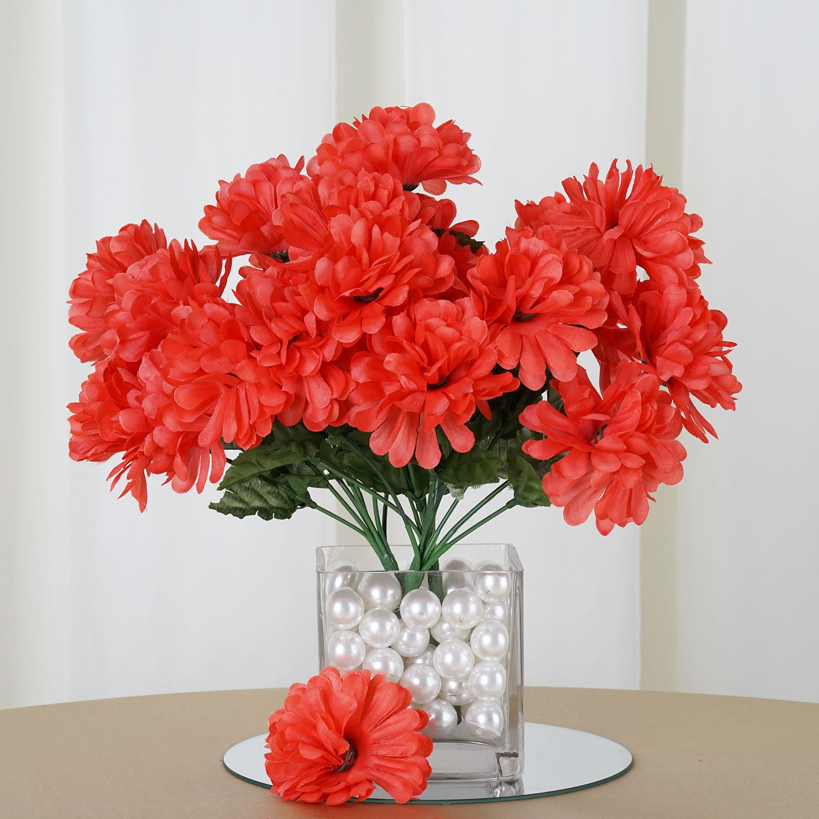 Coral 12 Bushes With 84 Artificial Silk Chrysanthemum Flower Bush