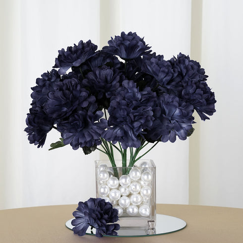 84 Artificial Navy Blue Silk Chrysanthemum Flowers Wedding Bridal ...
