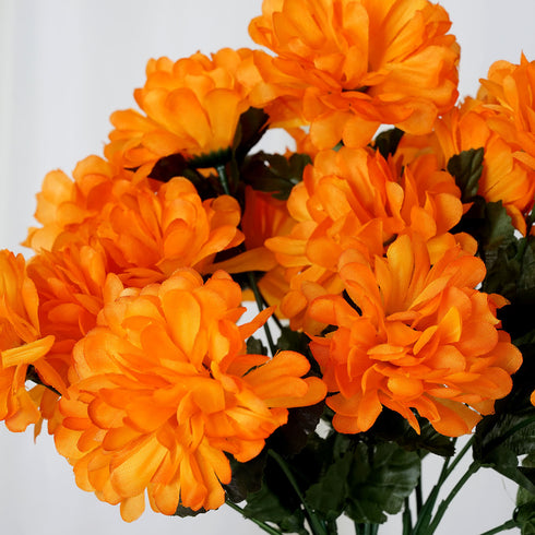 84 Artificial Silk Chrysanthemum Wedding Flower Bush Bouquet Centerpiece Decor - Orange