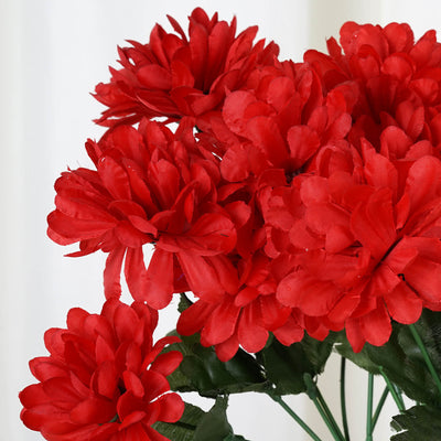 84 Artificial Silk Chrysanthemum Flower Bush - Red