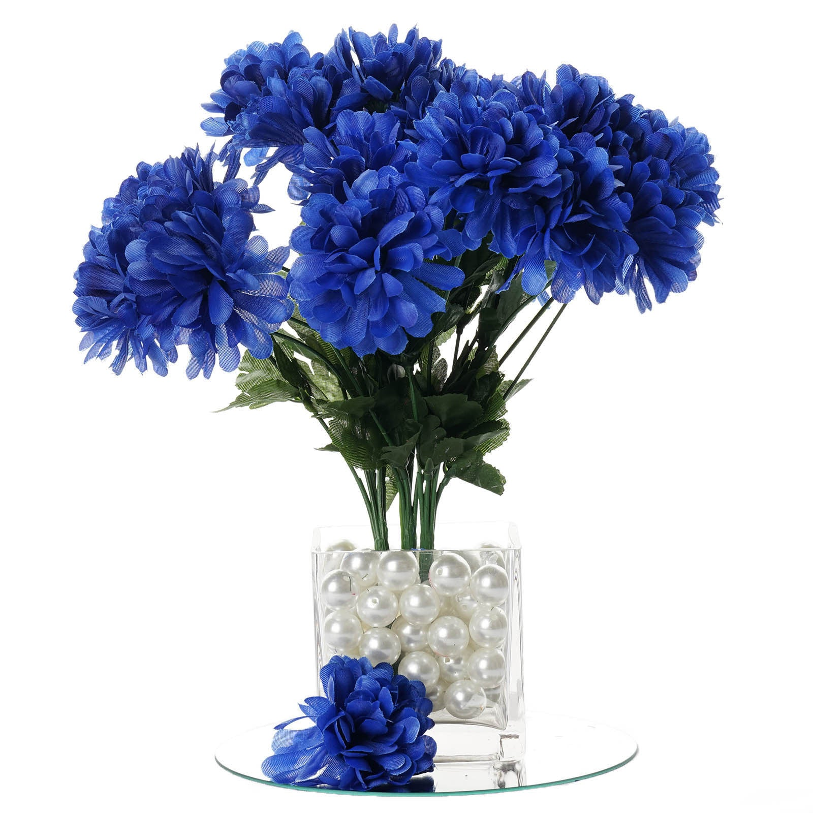 Royal Blue 12 Bushes With 84 Artificial Silk Chrysanthemum Flower ...