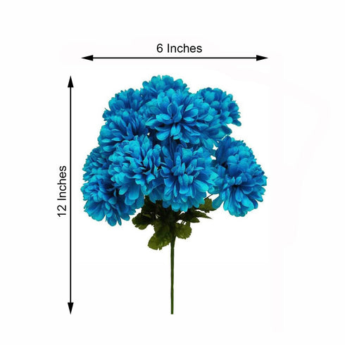 12 Bush 84 pcs Turquoise Artificial Silk Chrysanthemum Flowers