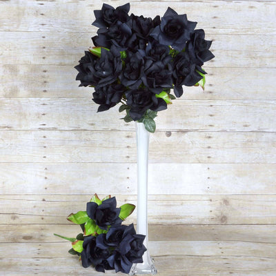 Velvet Bloom Roses- Black-168/pk