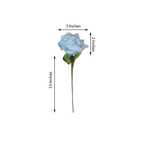 24 Bush 168 Pcs Light Blue Artificial Bloom Roses Flowers