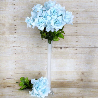 Velvet Bloom Roses-Light Blue-168/pk