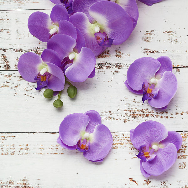"20pcs | 4"" Lavender Butterfly Orchid Artificial Flower Heads, DIY Craft Silk Flowers"